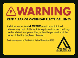 Keep Clear Overhead Elerical Lines - ( pack 5 )