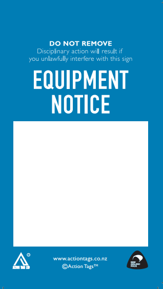 Equipment Notice Tags (Pack of 20)