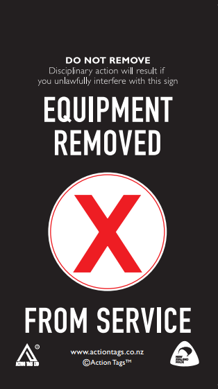 Equipment Removed Tags (Pack of 20)