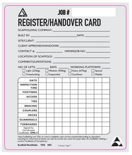 Load image into Gallery viewer, Register/Handover Card (Pack of 50)