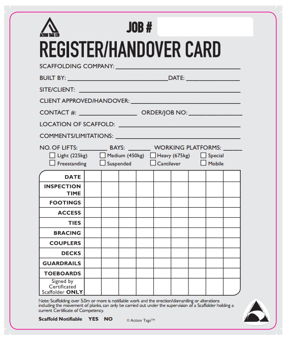Register/Handover Card (Pack of 50)