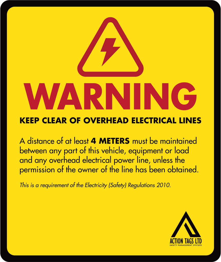 Warning Overhead Electical Lines (pack of 10)