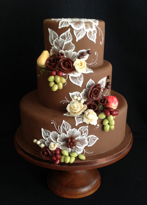 Delicious Chocolate Cake on a 12 inch Wood Cake Stand
