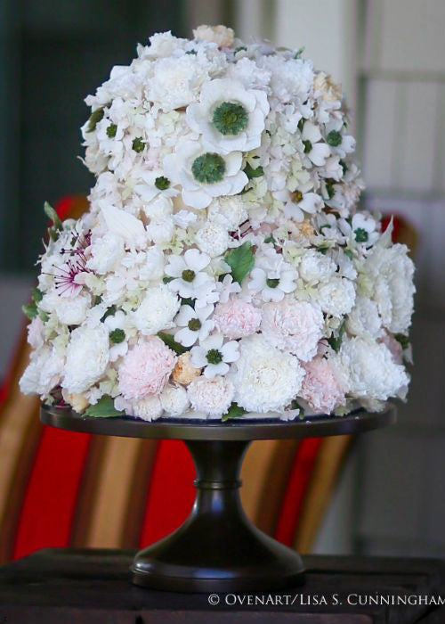 Floral Cake on a Black 14 inch Cake Stand