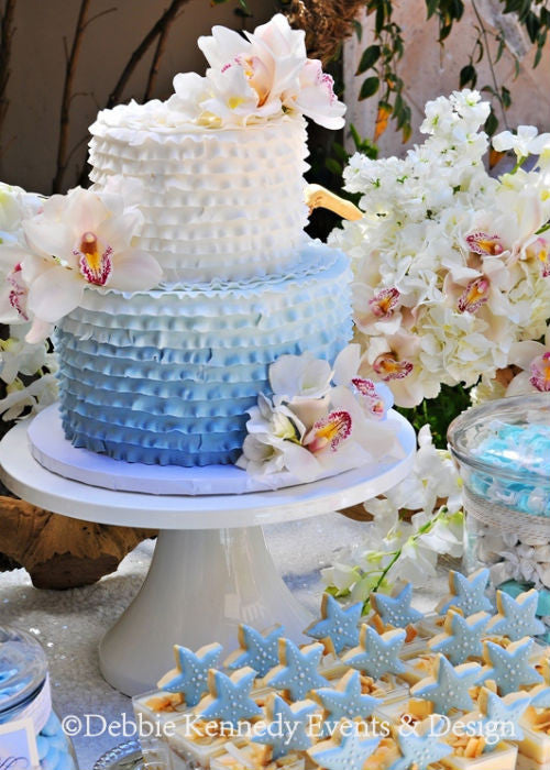 Blue & White Ombre Cake on a 14 inch White Cake Stand
