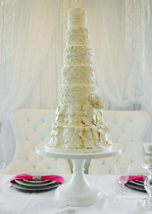 7 Tier Cake on a White 18 inch Cake Stand