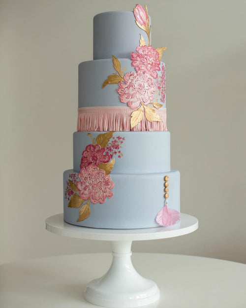 14 inch white cake stand supporting a beautiful pastel cake