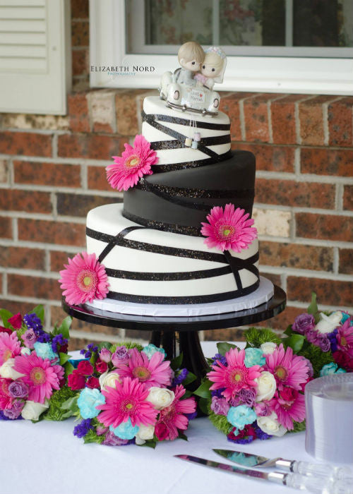 Topsy Turvy Cake on a 14 inch Black Cake Stand