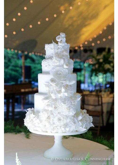 Towering Beauty of a Cake on a White 18 inch Cake Stand