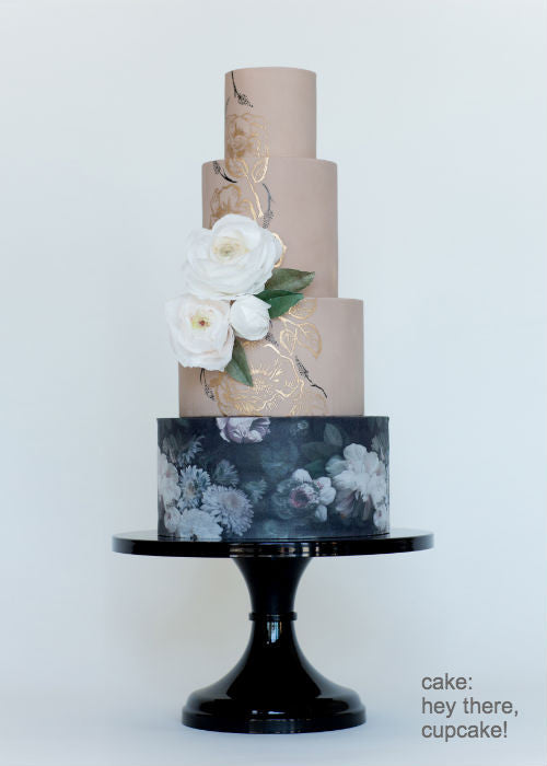 Floral Hand Painted Cake on a Black 14 inch Cake Stand