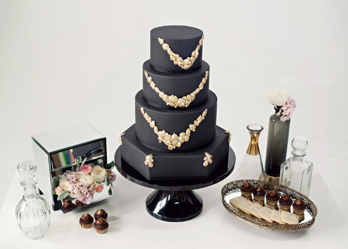 Opulent & Feminine Cake on a Black 14 inch Cake Stand