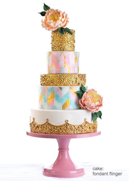 Bold Pink and Gold cake on a 14 inch Blush Pink Cake Stand