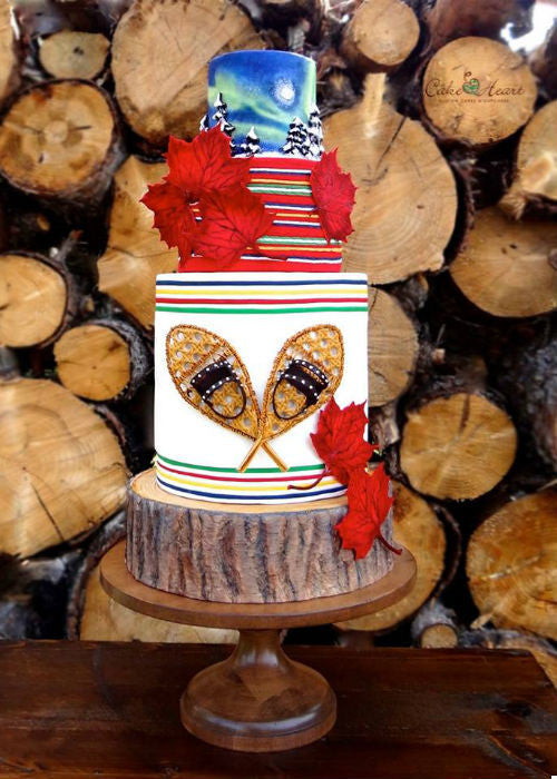 Winter Wonder Cake on Wood 12 inch Cake Stand