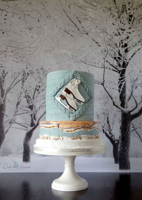 Winter Wonderland Cake on a 12 inch White Cake Stand