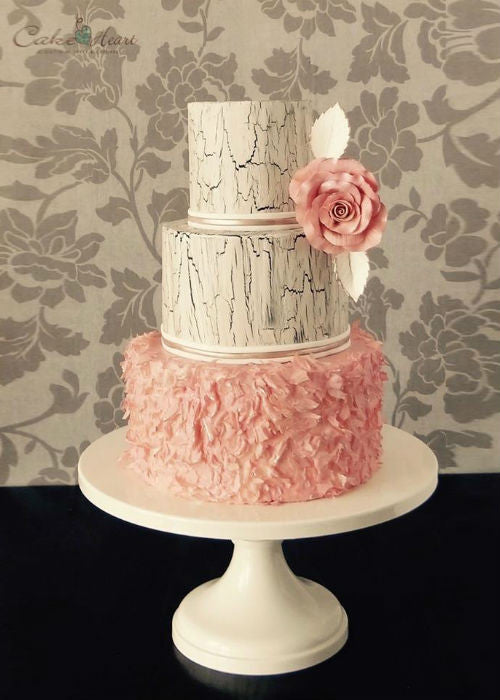 Weathered Cake on a White 14inch Cake Stand
