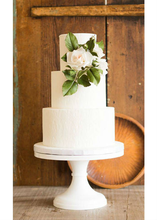 Stunning Classic Wedding Cake on White 14inch Cake Stand