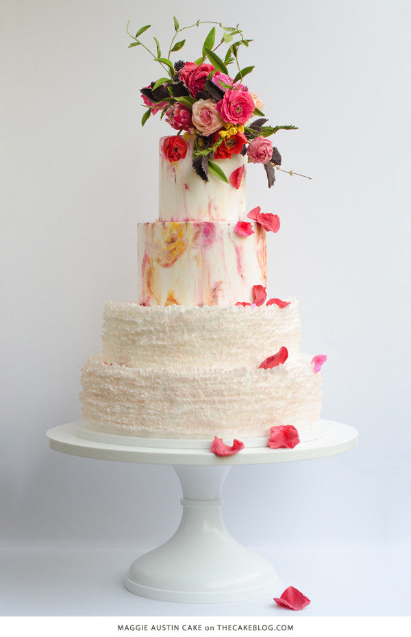 Maggie's Signature Ruffles on a White 16 inch Cake Stand