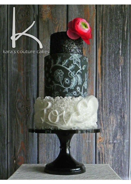 Black & White Ruffle Cake on a 14 inch Black Cake Stand