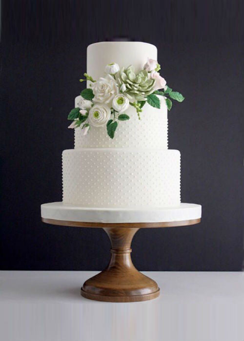 Floral Classic White Wedding Cake on 14 inch Wood Cake Stand