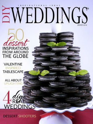 DIY Weddings, Winter 2014, cover, cake stand