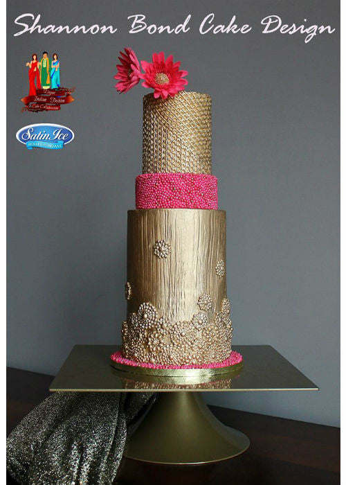 Indian Gown Inspired Cake on a Gold 10 inch Square Cake Stand