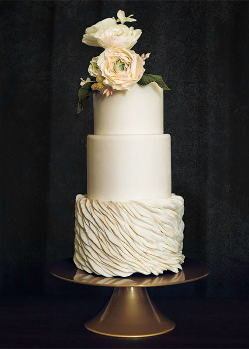 Classic Wedding Cake on a 10 inch Gold Cake Stand