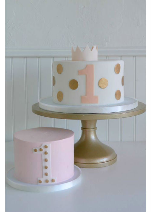 Adorable Birthday Cake on a 12 inch Gold Cake Stand