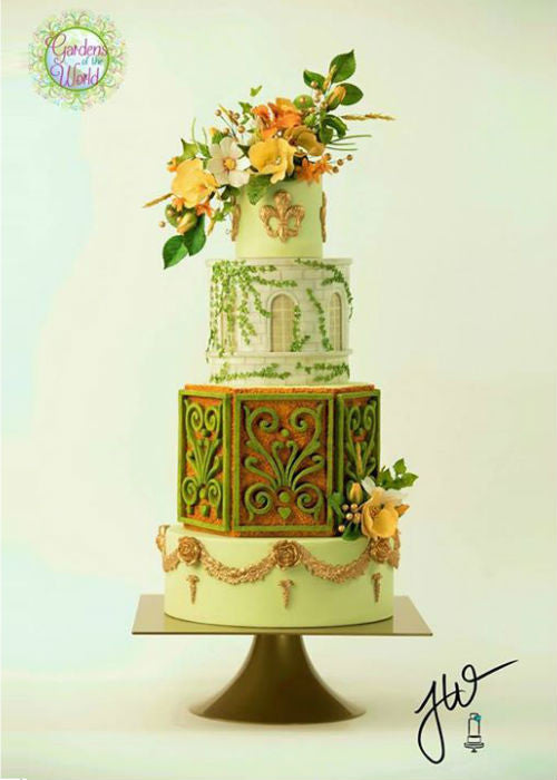 Impressively Detailed Cake on a 10 inch Square Cake Stand