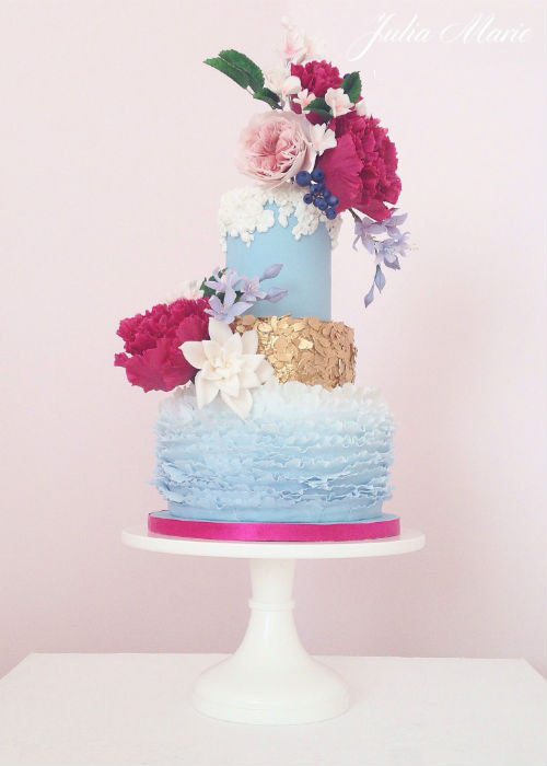 Gorgeous Ruffle Cake on 14 inch White Cake Stand