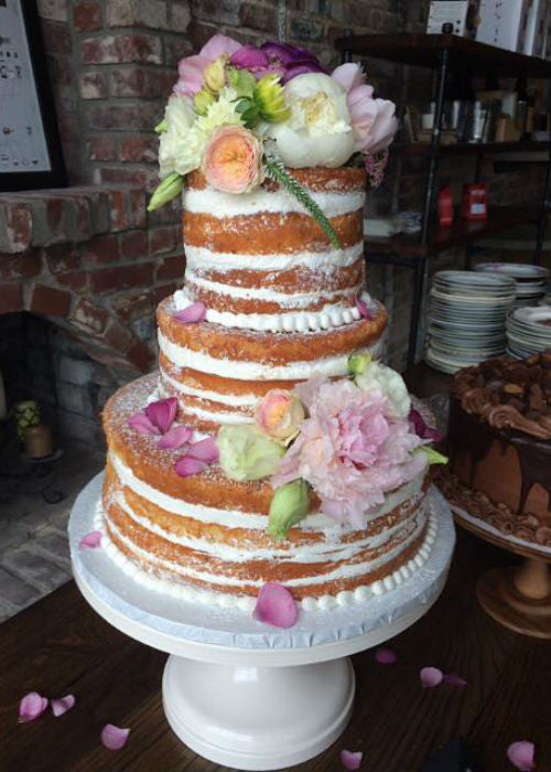 Naked Cake on a 16 inch White Wedding Cake Stand