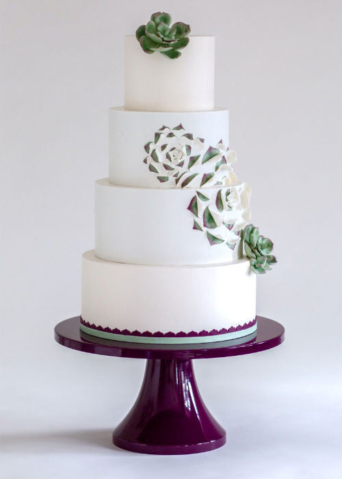 Succulent Inspired Cake on a 14 inch Purple Cake Stand