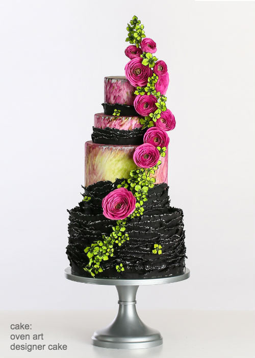 Decadent Complex Cake on a 14 inch Silver Cake Stand