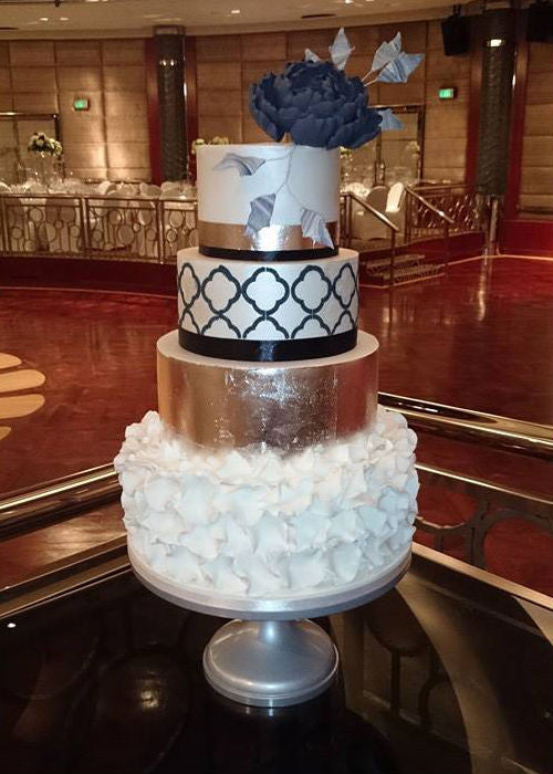 Playful Wedding Cake on a 16 inch Silver Cake Stand