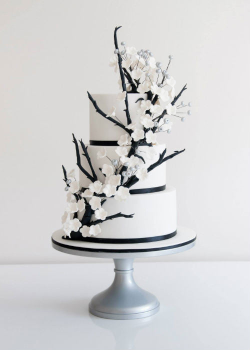 Organic Orchid Wedding Cake on a 14 inch Silver Cake Stand