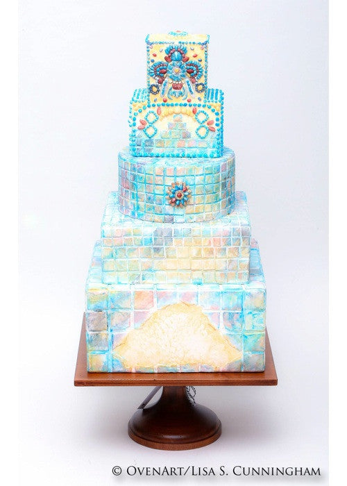 Colorful Mosaic Cake on a 14 inch Natural Wood Square Cake Stand