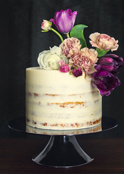 Darling Little Naked Cake on a Black 10 inch Cake Stand