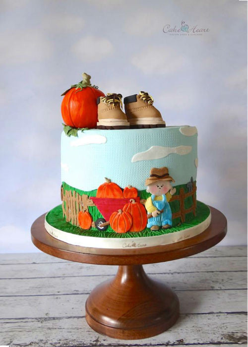Adotable Fall Cake on a 12 inch Natural Wood Cake Stand