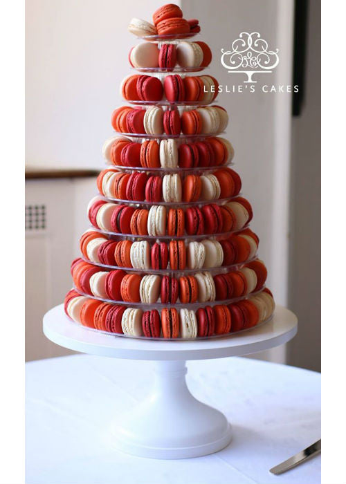 Lovely Macaron Tower on a White 14 inch Cake Stand