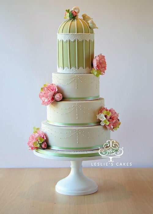 Beautiful Birdcage Cake on a White 14 inch Cake Stand