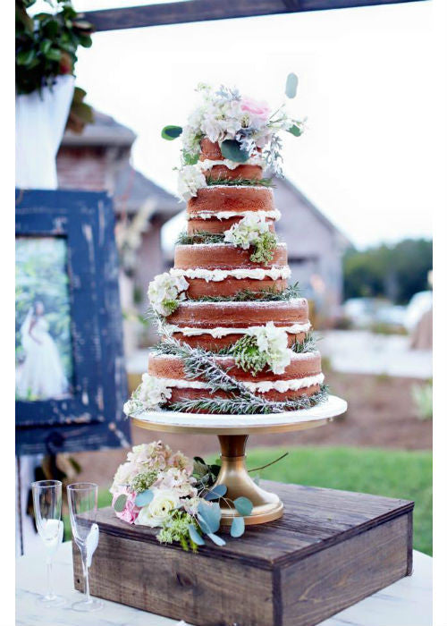 Rustic Naked Cake on a 16inch Gold Cake Stand