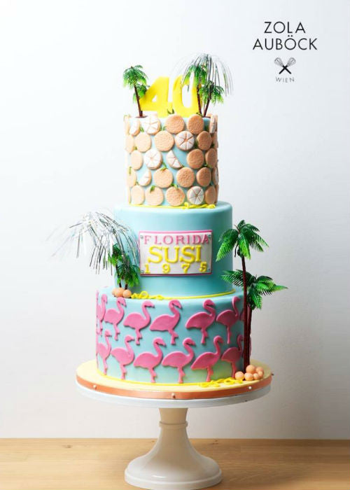 Tropical Cake on 12 inch White Cake Stand