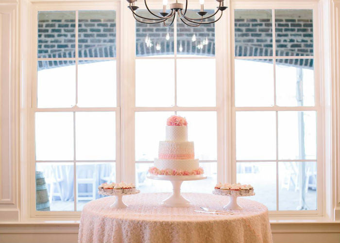 Darling Cake display on an White 18 inch Cake Stand