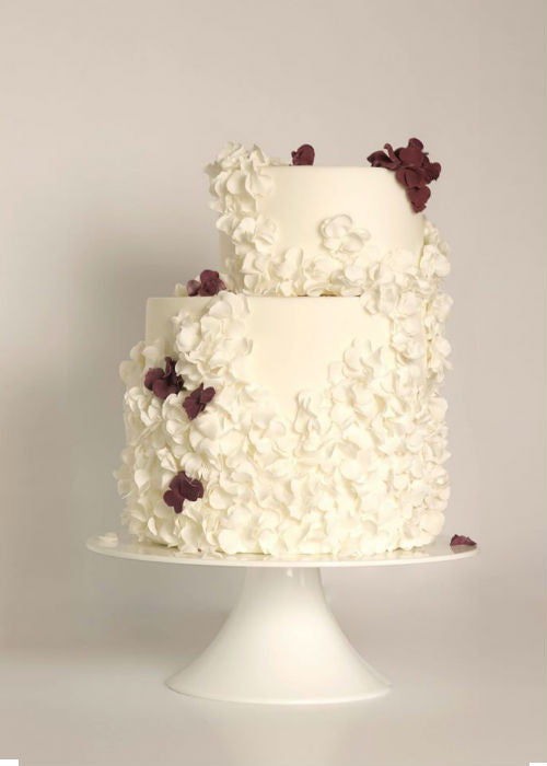 Intricate Floral Cake on a White 10 inch Cake Stand