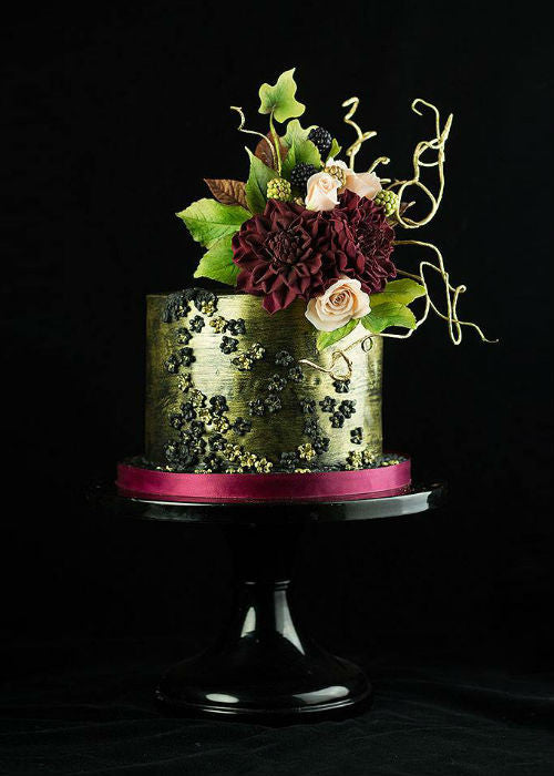 Chic Metallic Cake on a Black 12 inch Cake Stand