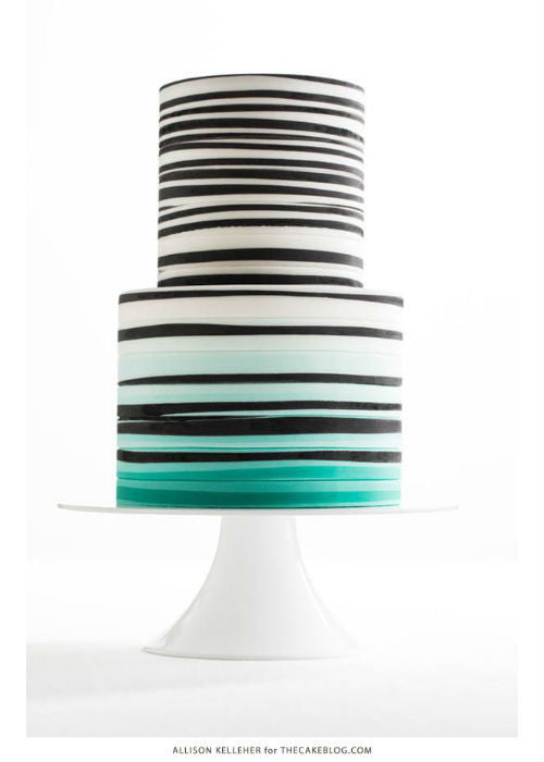 Chic Modern Cake on Low Profile White 10 inch Cake Stand