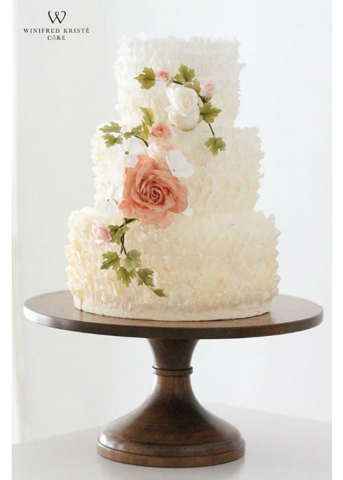Ruffle and Floral Cake on Natural Wood 14 inch Cake Stand
