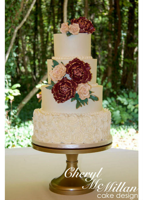 Peonies Cake on Gold 14inch Cake Stand