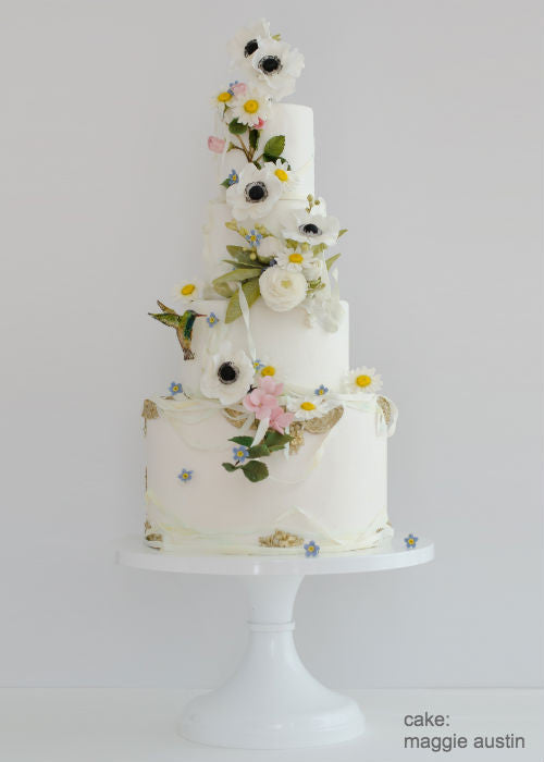 Springtime Floral Cake on a 14 inch White Cake Stand