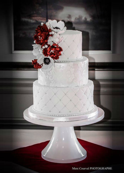 Sophisticated Cake on a White 14 inch Cake Stand