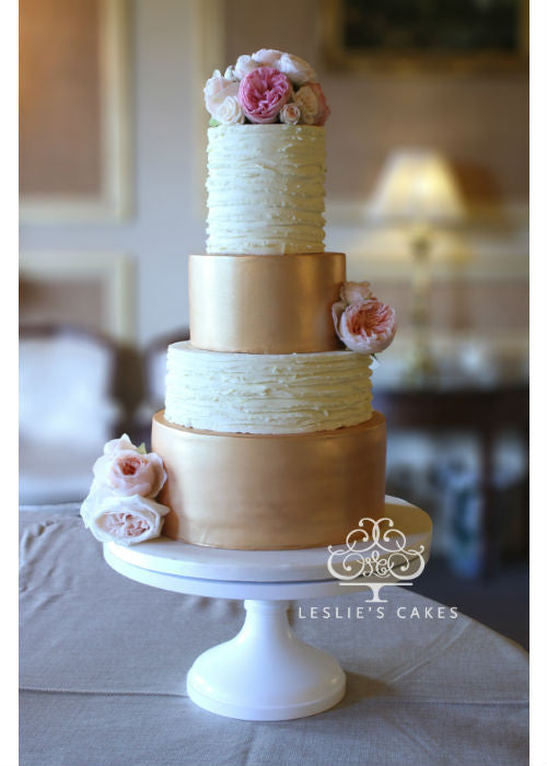 Rose Gold Cake on a White 16 inch Cake Stand